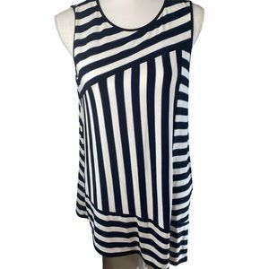 VINCE CAMUTO Sleeveless A-Symmetrical Striped Top